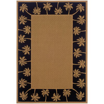 Goldenrod Beige/Black Indoor/Outdoor Area Rug Rug Size: Rectangle 37 x 56