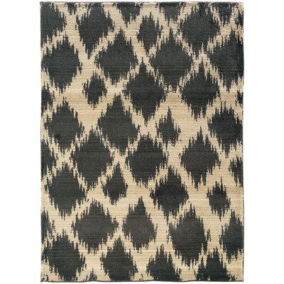 Feltner Ivory/Black Area Rug Rug Size: Rectangle 99 x 122