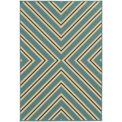 Heath Blue/Ivory Indoor/Outdoor Area Rug Rug Size: Rectangle 19 x 39