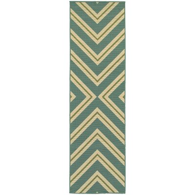 Heath Blue/Ivory Geometric Indoor/Outdoor Area Rug Rug Size: Runner 23 x 76