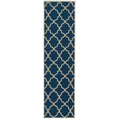 Edinburgh Blue/Ivory Indoor/Outdoor Area Rug Rug Size: Runner 23 x 76