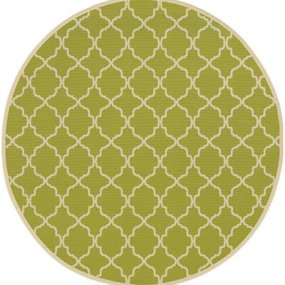 Heidy Green/Ivory Geometric Indoor/Outdoor Area Rug Rug Size: Round 710