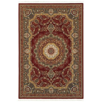 Knepp Medallion Red/Black Area Rug Rug Size: Rectangle 53 x 76