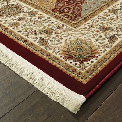 Knepp Panel Red/Beige Area Rug Rug Size: Runner 2'3