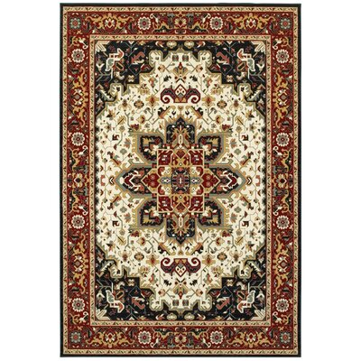 Knighten Medallion Red/Ivory Area Rug Rug Size: Rectangle 53 x 76