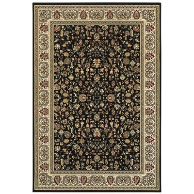 Knighten Black/Ivory Area Rug Rug Size: Rectangle 53 x 76