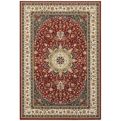 Knighten Classic Medallion Red/Ivory Area Rug Rug Size: Rectangle 910 x 1210