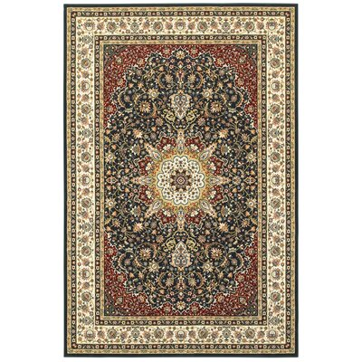 Knighten Classic Medallion Navy/Ivory Area Rug Rug Size: Rectangle 23 x 76