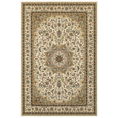 Knighten Classic Medallion Ivory/Beige Area Rug Rug Size: Rectangle 910 x 1210
