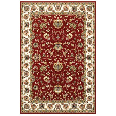 Knighten  Red/Ivory Area Rug Rug Size: Rectangle 53 x 76