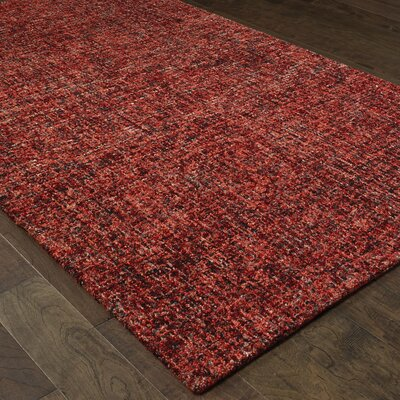 Laguerre Warm Boucle Hand-Hooked Wool Red Area Rug Rug Size: Rectangle 5 x 8