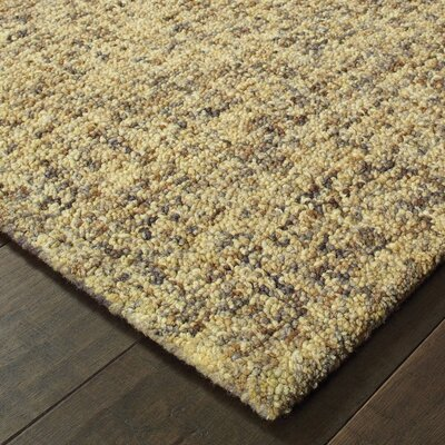 Laguerre Rustic Shades Boucle Hand-Hooked Wool Gold Area Rug Rug Size: Rectangle 36 x 56