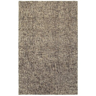 Laguerre Boucle Hand-Hooked Wool Black/Beige Area Rug Rug Size: Rectangle 5 x 8