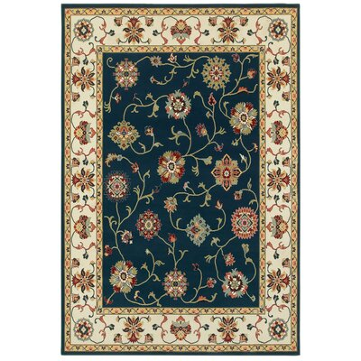 Knighten Borders Navy/Ivory Area Rug Rug Size: Rectangle 67 x 96