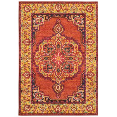 Belmonte Boho Chic Medallion Orange/Yellow Area Rug Rug Size: Rectangle  99 x 122