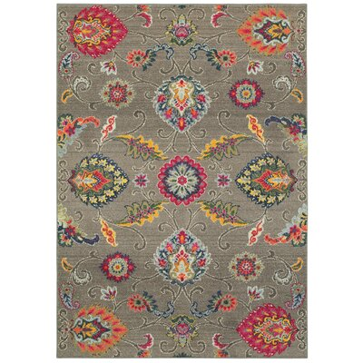 Belmonte Boho Flowers Gray Area Rug Rug Size: Rectangle  99 x 122