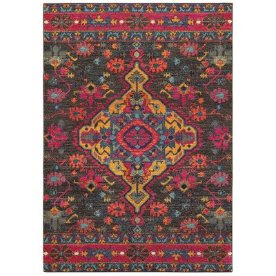 Belmonte Opulence Charcoal/Pink Area Rug Rug Size: Rectangle 27 x 10