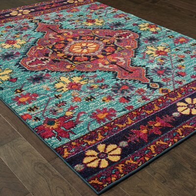 Belmonte Opulence Blue/Pink Area Rug Rug Size: Rectangle 27 x 10