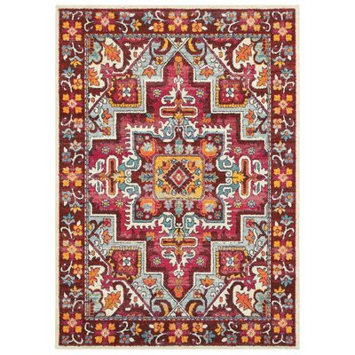 Belmonte Medallion Red/Pink Area Rug Rug Size: Rectangle  99 x 122