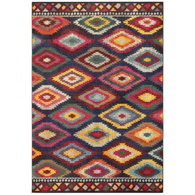 Belmonte Tribal Diamonds Navy/Yellow Area Rug Rug Size: Rectangle 53 x 76
