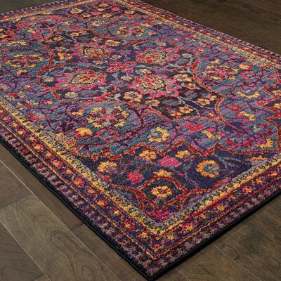 Belmonte Magenta Navy/Pink Area Rug Rug Size: Rectangle 67 x 96