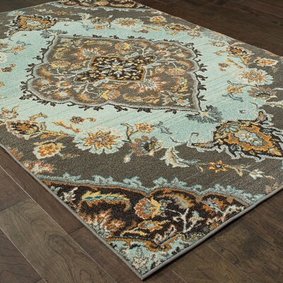 Belmonte Gray/Blue Area Rug Rug Size: Rectangle 27 x 10