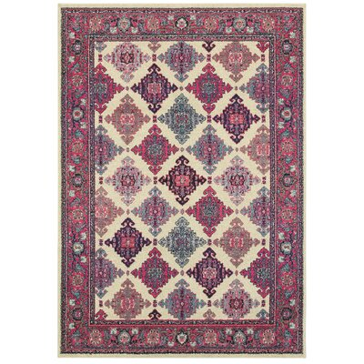Belmonte Medallions Ivory/Pink Area Rug Rug Size: Rectangle 53 x 76