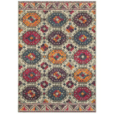 Belmonte Border Medallion Gray/Red Area Rug Rug Size: Rectangle 53 x 76