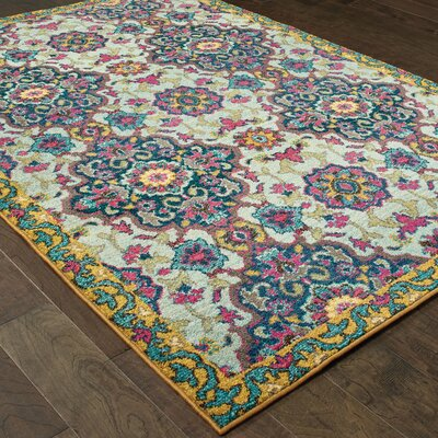 Belmonte Boho Blue/Yellow Area Rug Rug Size: Rectangle 67 x 96