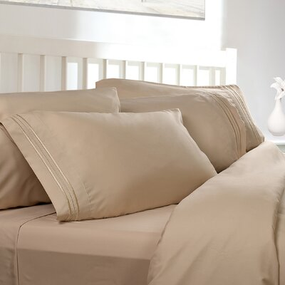 Embossed Checkerboard Design 820 Thread Count Sheet Set Size: Full, Color: Cream Beige