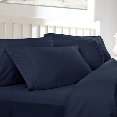 Embossed Checkerboard Design 820 Thread Count Sheet Set Color: Navy Blue, Size: Twin