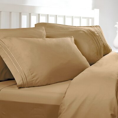 Embossed Checkerboard Design 820 Thread Count Sheet Set Color: Camel Gold, Size: Queen
