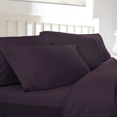 Embossed Checkerboard Design 820 Thread Count Sheet Set Size: Full, Color: Purple Eggplant