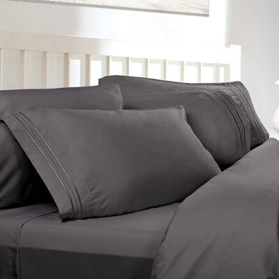 Embossed Checkerboard Design 820 Thread Count Sheet Set Size: King, Color: Charcoal Grey