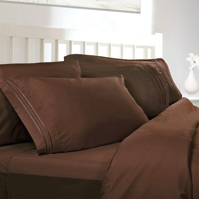 Embossed Checkerboard Design 820 Thread Count Sheet Set Color: Chocolate Brown, Size: Queen
