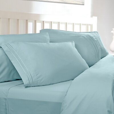 Embossed Checkerboard Design 820 Thread Count Sheet Set Size: King, Color: Aqua Light Blue