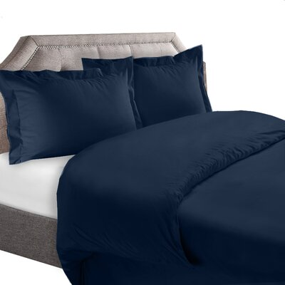 1800 Series Duvet Cover Set Color: Navy Blue, Size: Queen