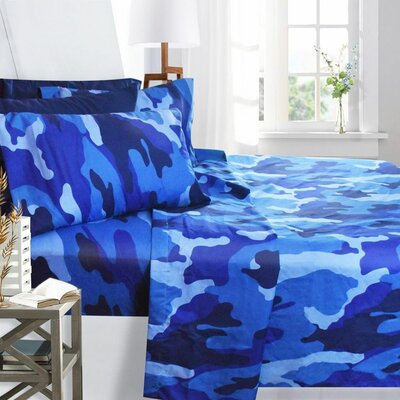 Printed Design Microfiber Sheet Set Size: Twin, Color: Blue Camouflage