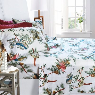 Printed Design Microfiber Sheet Set Size: Full, Color: Birds