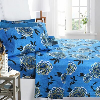 Printed Design Microfiber Sheet Set Size: King, Color: Blue Buttercup