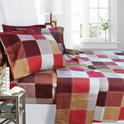 Printed Design 1800 Thread Count Sheet Set Color: Checkerboard, Size: Queen