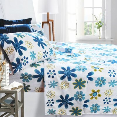 Printed Design 1800 Thread Count Sheet Set Color: Blue Daisies, Size: King