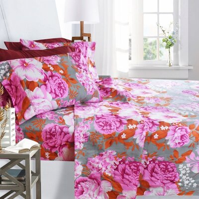 Printed Design 1800 Thread Count Sheet Set Size: King, Color: Pink Peony