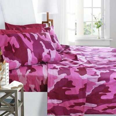Printed Design Microfiber Sheet Set Size: King, Color: Prink Camouflage