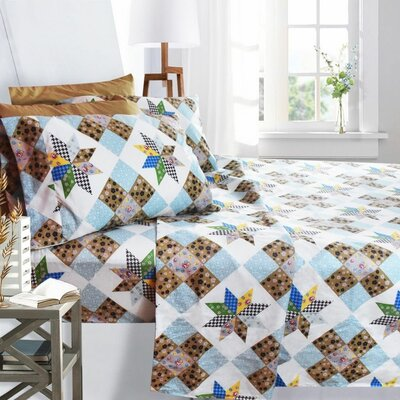Printed Design 1800 Thread Count Sheet Set Size: Twin, Color: Quilted Patchwork