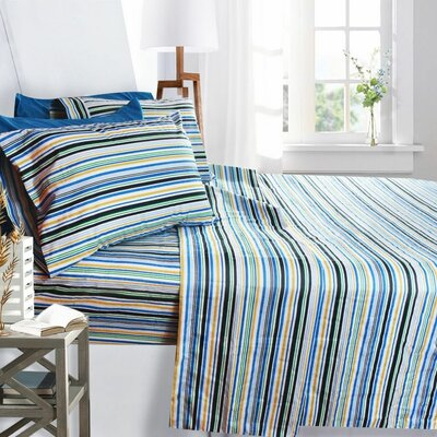 Printed Design Microfiber Sheet Set Size: King, Color: Striped