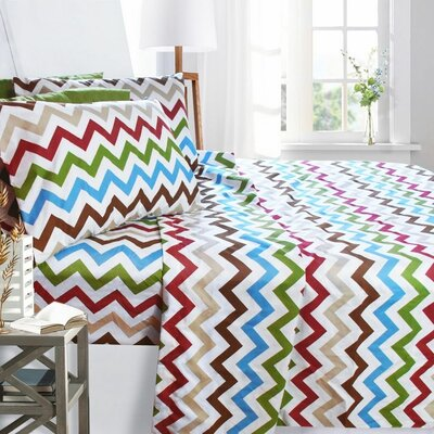 Printed Design 1800 Thread Count Sheet Set Color: Zig Zag, Size: Queen