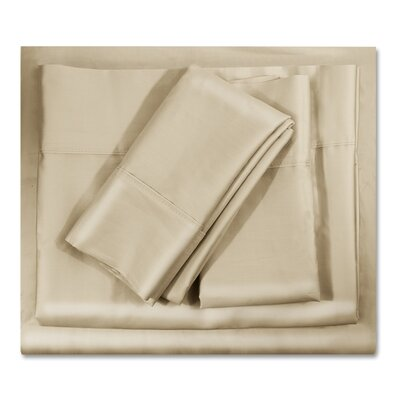 400 Thread Count Egyptian-Quality Cotton Sheet Set Color: Cream Beige, Size: Queen