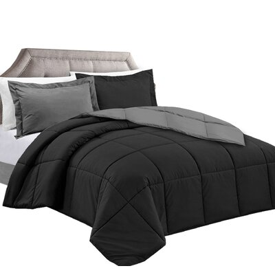 3 Piece Reversible Comforter Set Color: Black/Gray, Size: Full/Queen