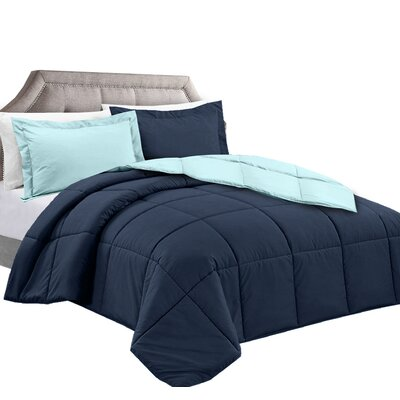 3 Piece Reversible Comforter Set Color: Navy/Aqua, Size: Full/Queen